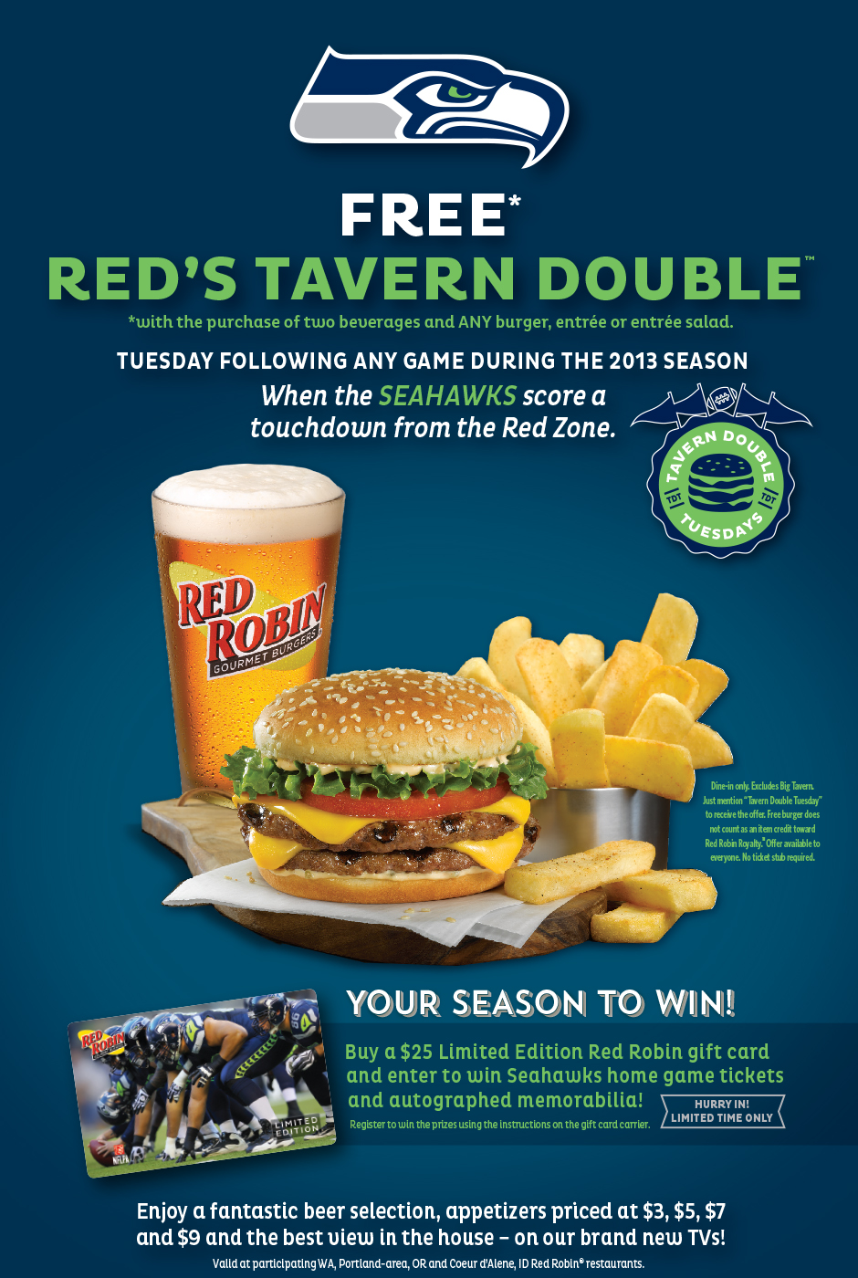red robin pay stub Another 12th Man Deal: Free Red Robin Tavern Double Burger (With ...