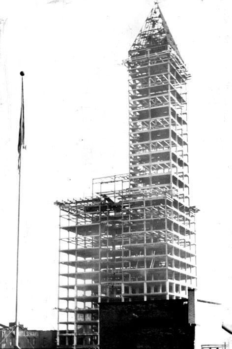 The Smith Tower under construction.