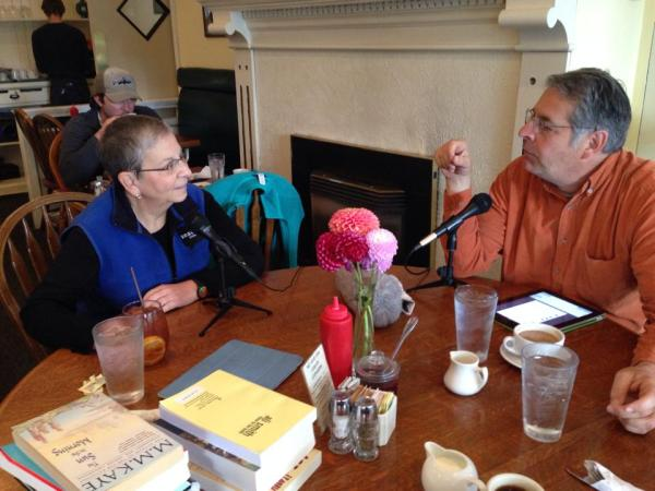 Nancy Pearl and former KUOW host Steve Scher record a podcast at Bryant Corner Cafe.